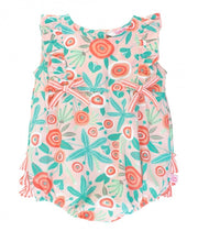 Load image into Gallery viewer, RuffleButts Seaside Floral Ruffle Romper
