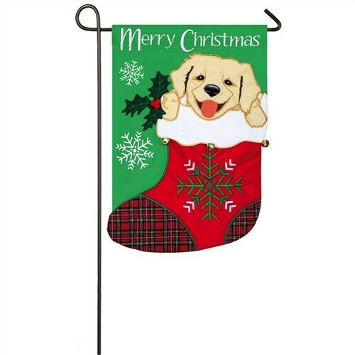EVERGREEN PUPPY IN STOCKING GARDEN FLAG