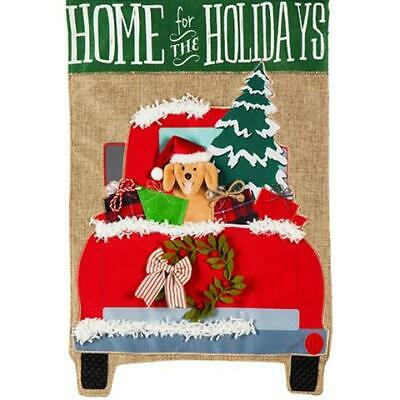Evergreen Home For The Holidays House Flag