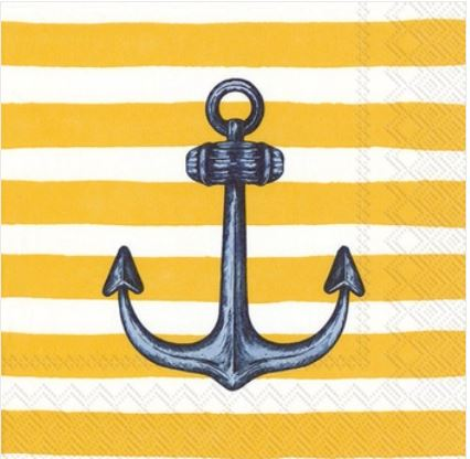 Sailor's Anchor Yellow Paper Lunch Napkins