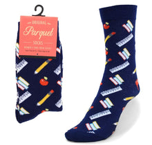 Load image into Gallery viewer, Parquet Ladies School Supplies Crew Socks