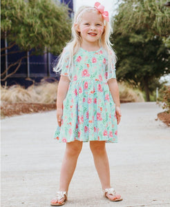 RuffleButts Running in Wildflowers Twirl Dress