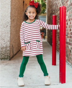 RuffleButts White & Cranberry Stripe Pocket Dress