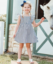 Load image into Gallery viewer, RuffleButts Navy Stripe Ruffle Dress