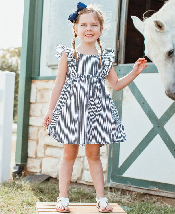 RuffleButts Navy Stripe Ruffle Dress