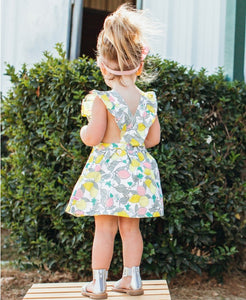 RuffleButts Make Lemonade Cross Back Dress