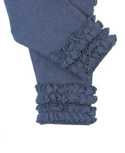 Load image into Gallery viewer, RuffleButts Faux Denim Ruffle Leggings
