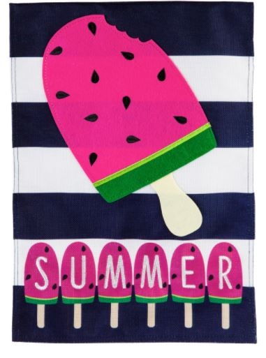 Evergreen Summer Melonsicle Garden Burlap Flag