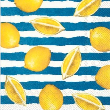 Summer Lemons Blue Paper Lunch Napkins