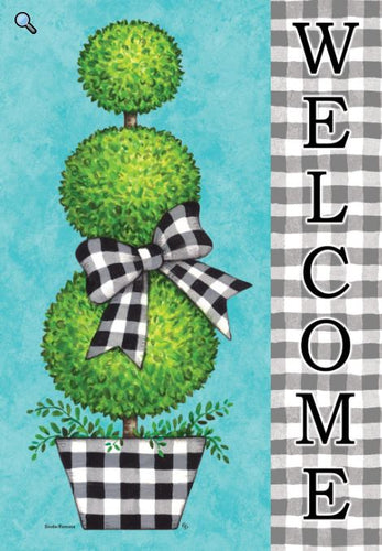 CUSTOM DECOR GINGHAM TOPIARY DOUBLE SIDED HOUSE FLAG
