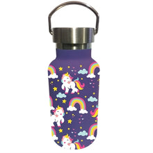 Load image into Gallery viewer, Children Double Wall Stainless Steel Bottle, 11 OZ, Unicorns and Rainbows