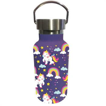 Children Double Wall Stainless Steel Bottle, 11 OZ, Unicorns and Rainbows