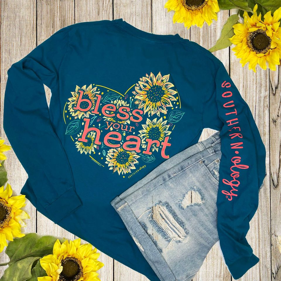 Southernology Sunflower Bless Your Heart Long Sleeve T-shirt