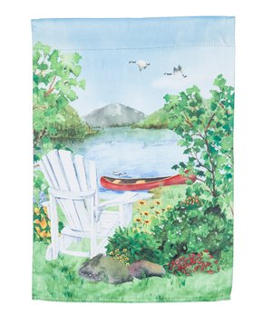 Evergreen Lakeside Retreat Suede Garden Flag