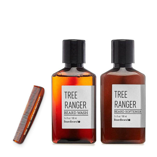 Beardbrand - Perfect Beard Care Set: Tree Ranger Beard Wash, Softener & Comb