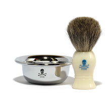 Load image into Gallery viewer, Chrome Shaving Bowl & Badger Hair Shaving Brush