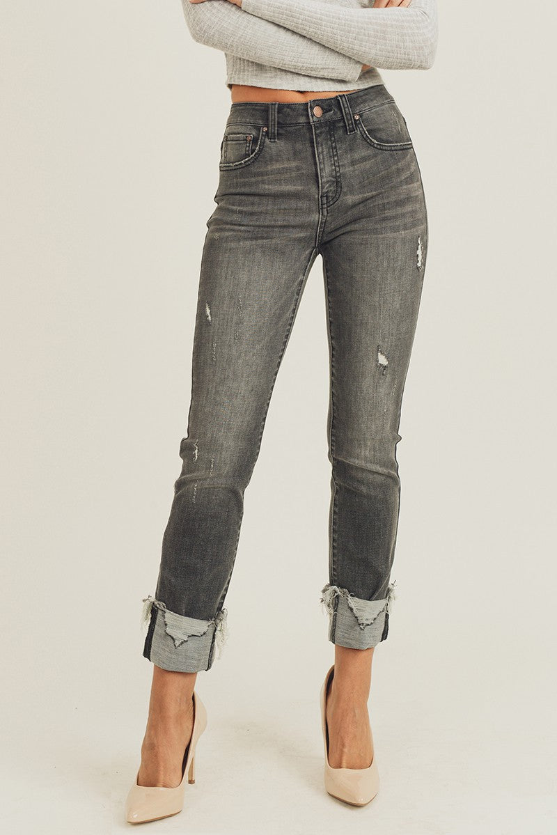 GREY CUFFED ANKLE STRAIGHT JEANS
