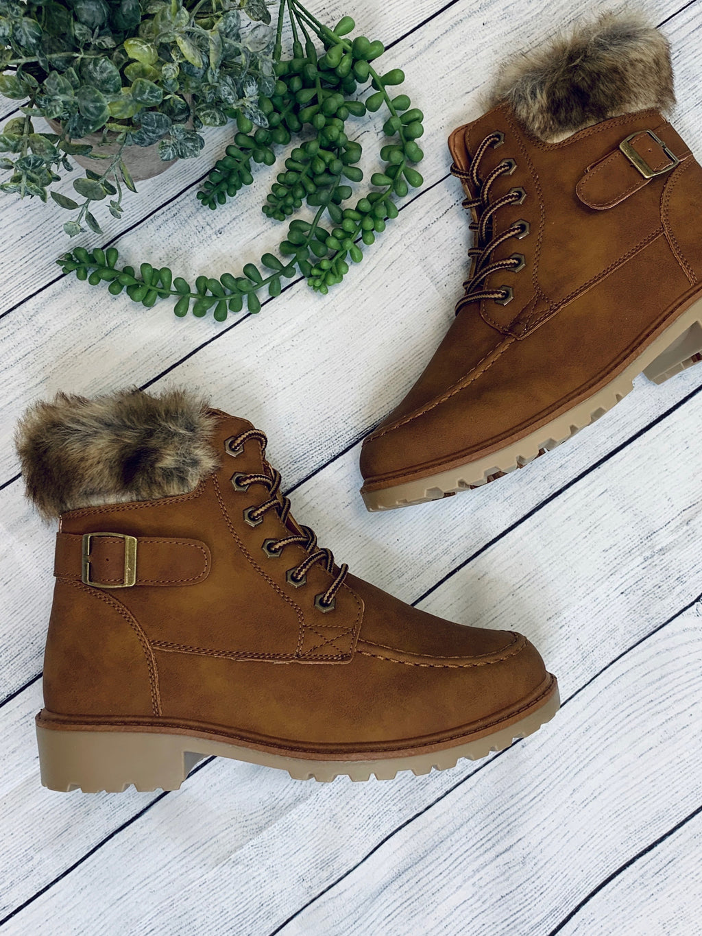 Lace Up Combat Fur Ankle Boot