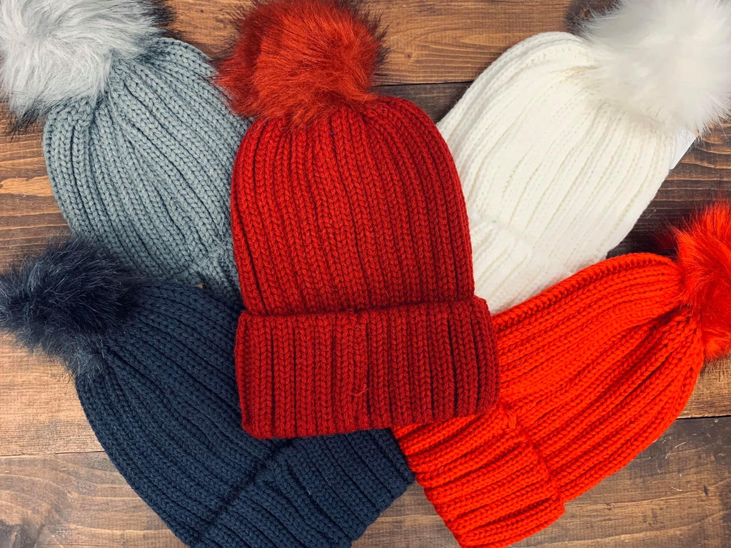 Basic Knit Pom Pom Hat