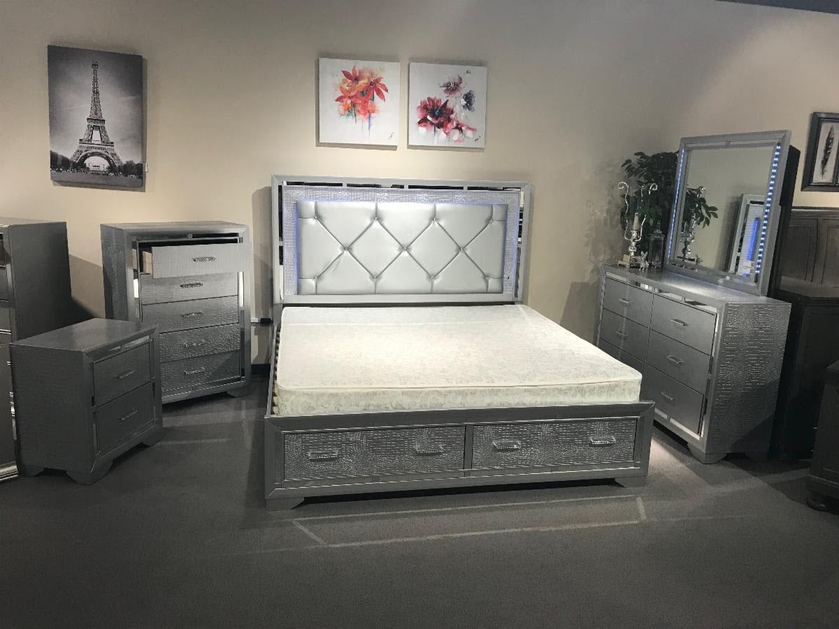 Fair Chaz B Queen 5 Pc Silver Led Bedroom Set With Storage Drawers Furniture Plus Usa