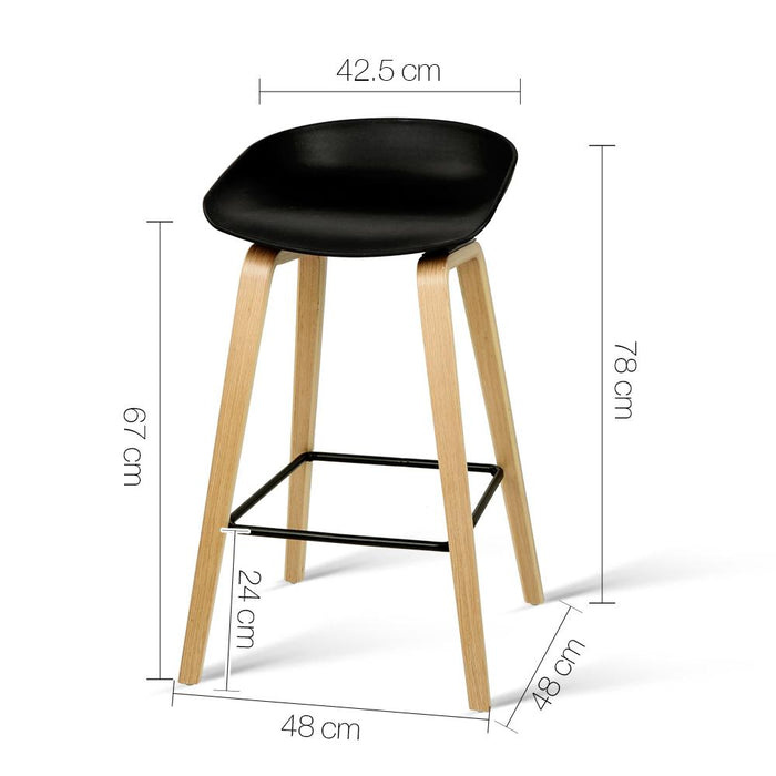 Stupendous Set Of 2 Wooden Backless Bar Stool With Metal Footrest Black Squirreltailoven Fun Painted Chair Ideas Images Squirreltailovenorg