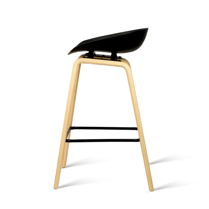Wondrous Set Of 2 Wooden Backless Bar Stool With Metal Footrest Black Squirreltailoven Fun Painted Chair Ideas Images Squirreltailovenorg