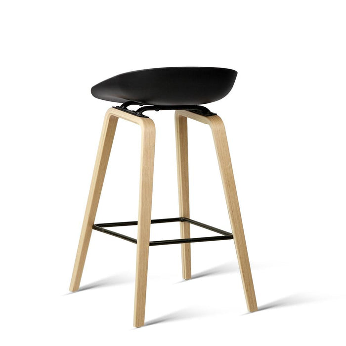 Superb Set Of 2 Wooden Backless Bar Stool With Metal Footrest Black Squirreltailoven Fun Painted Chair Ideas Images Squirreltailovenorg