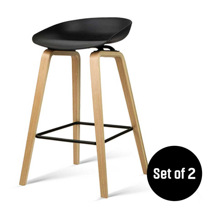 Pleasant Set Of 2 Wooden Backless Bar Stool With Metal Footrest Black Squirreltailoven Fun Painted Chair Ideas Images Squirreltailovenorg