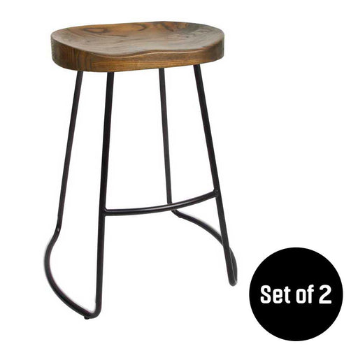 Remarkable Set Of 2 Wooden Backless Bar Stool With Metal Footrest Gmtry Best Dining Table And Chair Ideas Images Gmtryco