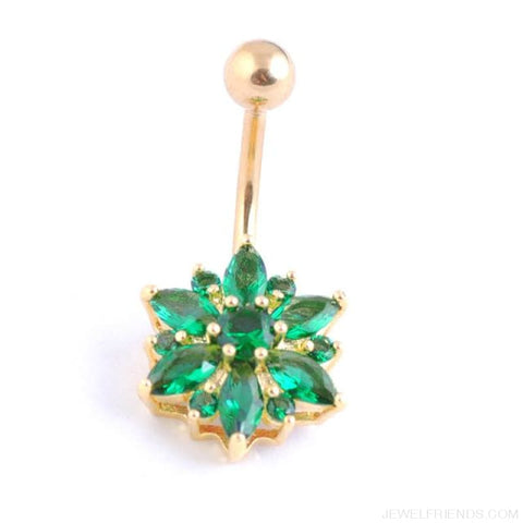 Image of 1.6Mm Barbell Surgical Steel Crystal Flower Navel Piercings - Gold Green - Custom Made | Free Shipping