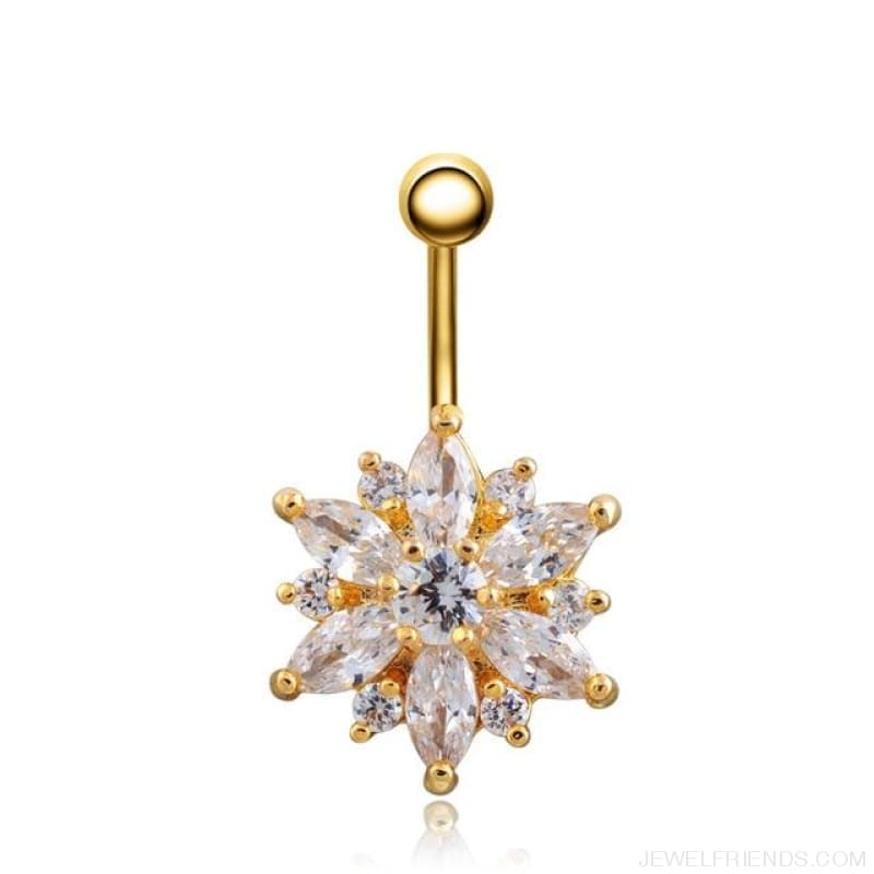 1.6Mm Barbell Surgical Steel Crystal Flower Navel Piercings - Gold White - Custom Made | Free Shipping