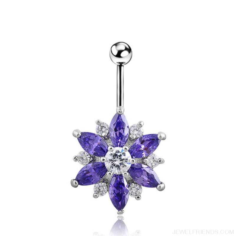 1.6Mm Barbell Surgical Steel Crystal Flower Navel Piercings - Silver Purple - Custom Made | Free Shipping