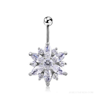 1.6Mm Barbell Surgical Steel Crystal Flower Navel Piercings - Silver White - Custom Made | Free Shipping