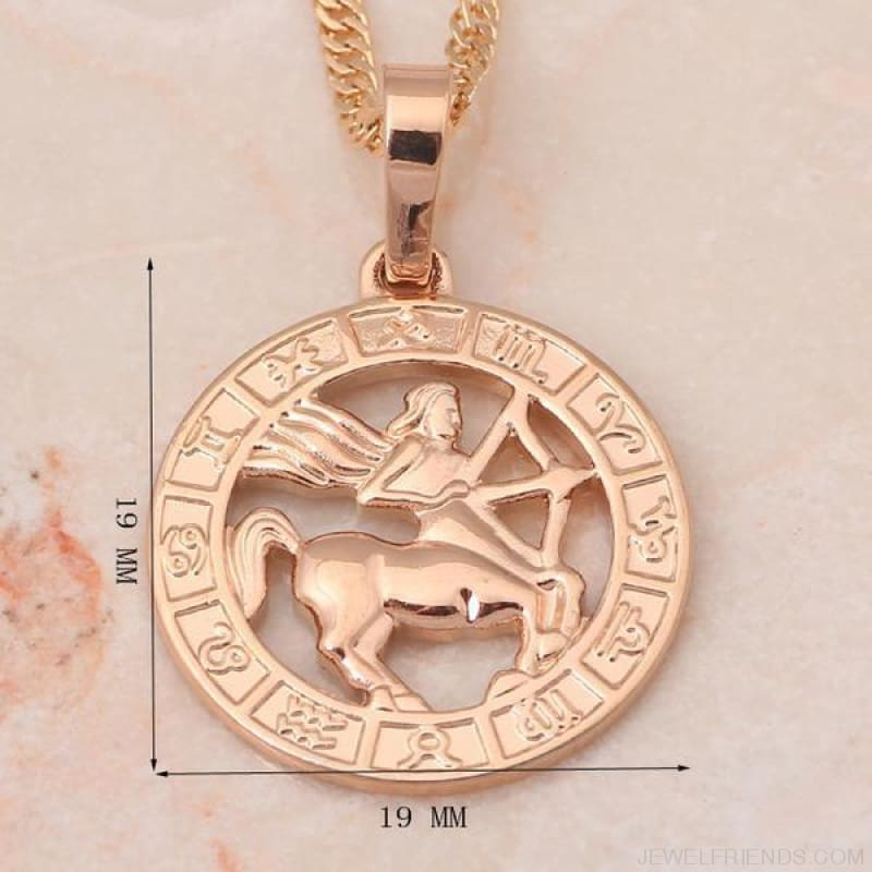 12 Constellation Round Gold Tone Pendant Necklace - Custom Made | Free Shipping