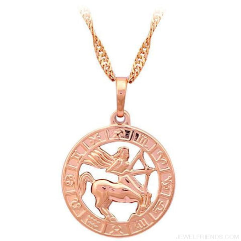 Image of 12 Constellation Round Gold Tone Pendant Necklace - Ln452 Sagittarius - Custom Made | Free Shipping