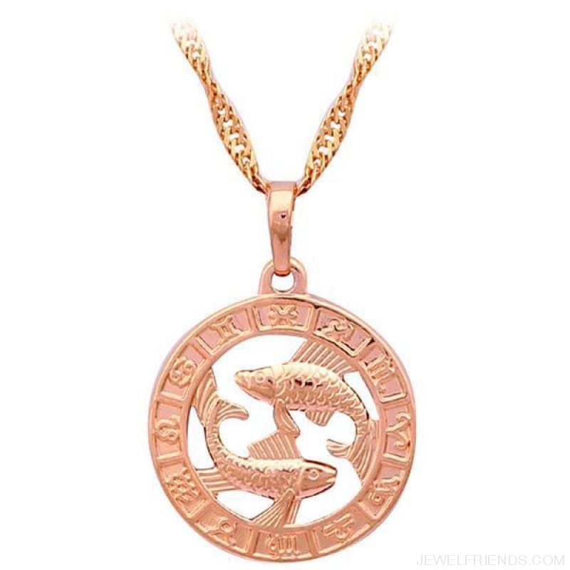 12 Constellation Round Gold Tone Pendant Necklace - Ln454 Pisces - Custom Made | Free Shipping