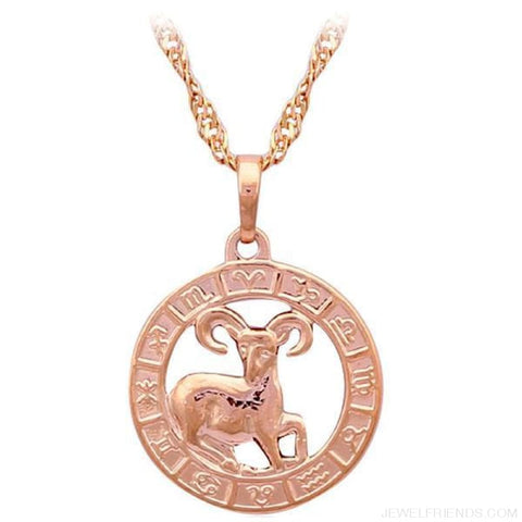 Image of 12 Constellation Round Gold Tone Pendant Necklace - Ln455 Aries - Custom Made | Free Shipping