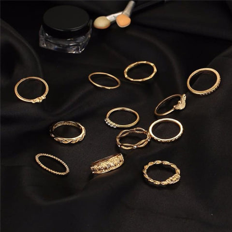 Image of 12 Pc/set Charm Gold Color Midi Finger Ring Set - Custom Made | Free Shipping