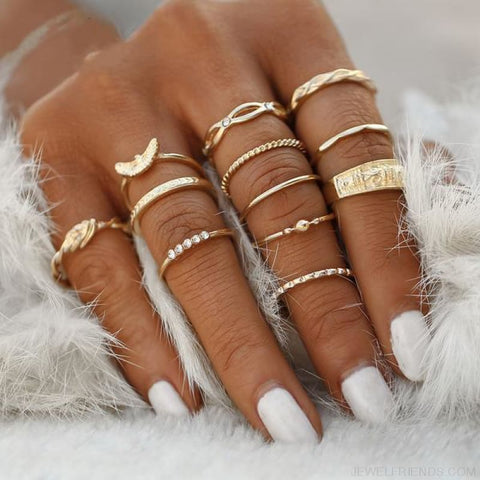 12 Pc/set Charm Gold Color Midi Finger Ring Set - Custom Made | Free Shipping