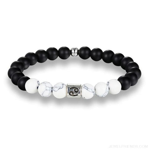 12 Zodiac Signs 8Mm Matte Stone White Elastic Beads Bracelets - Cancer / Pisces / 20Cm - Custom Made | Free Shipping