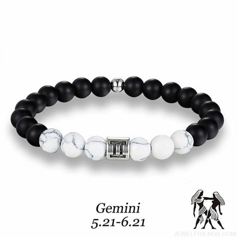 12 Zodiac Signs 8Mm Matte Stone White Elastic Beads Bracelets - Custom Made | Free Shipping