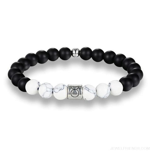 12 Zodiac Signs 8Mm Matte Stone White Elastic Beads Bracelets - Taurus / Pisces / 20Cm - Custom Made | Free Shipping