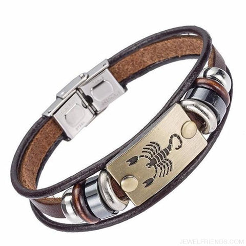 12 Zodiac Signs Bracelet With Stainless Steel Clasp Leather Bracelet - 10 - Custom Made | Free Shipping