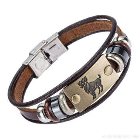 12 Zodiac Signs Bracelet With Stainless Steel Clasp Leather Bracelet - 2 - Custom Made | Free Shipping