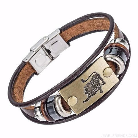 12 Zodiac Signs Bracelet With Stainless Steel Clasp Leather Bracelet - 6 - Custom Made | Free Shipping