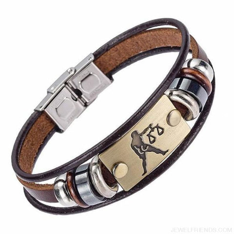 12 Zodiac Signs Bracelet With Stainless Steel Clasp Leather Bracelet - 7 - Custom Made | Free Shipping