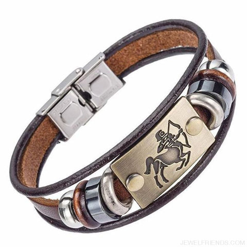 12 Zodiac Signs Bracelet With Stainless Steel Clasp Leather Bracelet - 9 - Custom Made | Free Shipping
