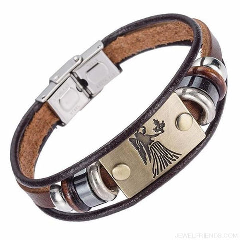 12 Zodiac Signs Bracelet With Stainless Steel Clasp Leather Bracelet - 12 - Custom Made | Free Shipping