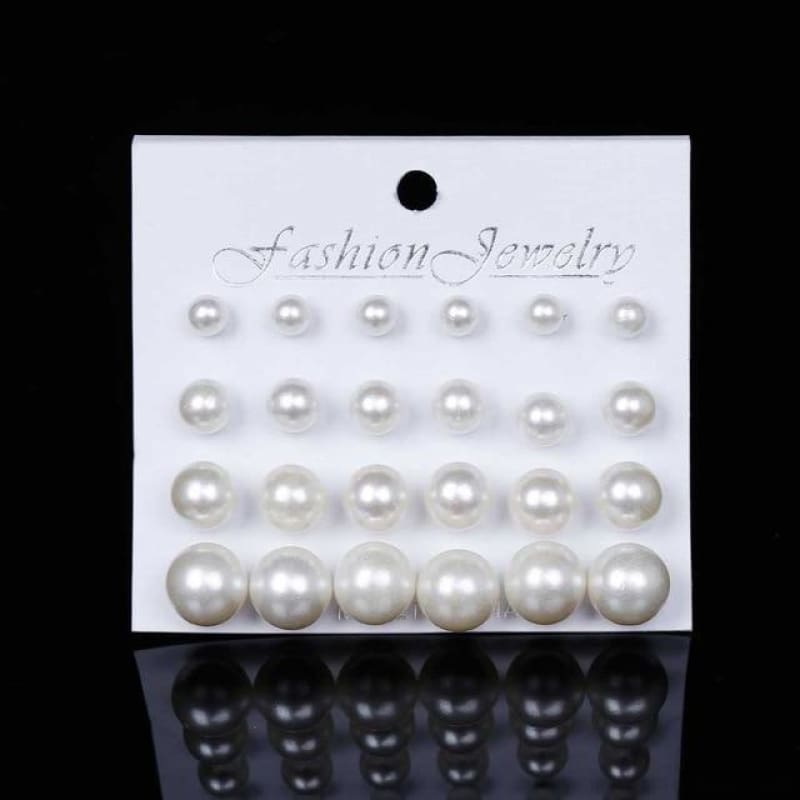 12Pairs/set Pearl Earrings - Beige - Custom Made | Free Shipping