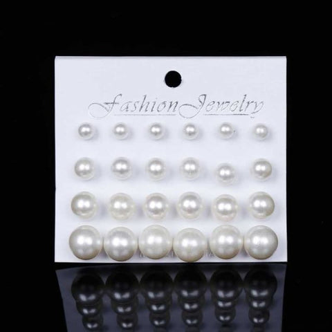 Image of 12Pairs/set Pearl Earrings - Beige - Custom Made | Free Shipping